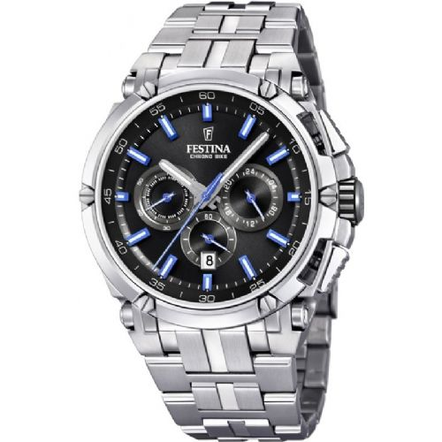 F20327/7 Blue  Festina Mens  Bracelet Watch With A Black Dial